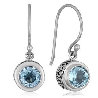 Handmade Sterling Silver Blue Topaz Dangle Earrings (Indonesia)