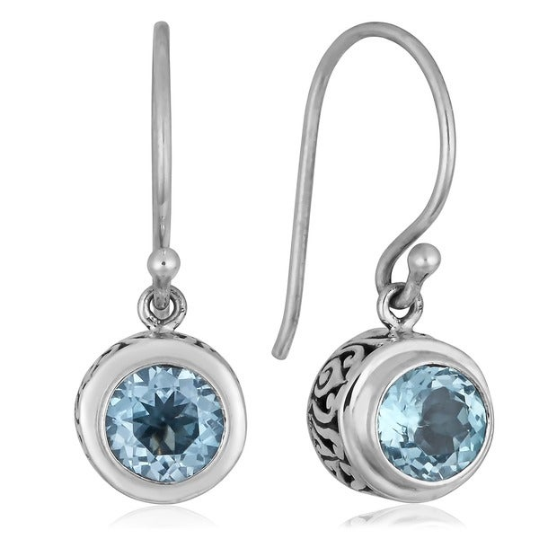 Handmade Sterling Silver Blue Topaz Dangle Earrings (Indonesia)