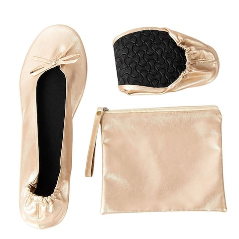 Women's Foldable Ballet Flats Roll up Shoes with Pouch, Nude, XL, US 10 - 11