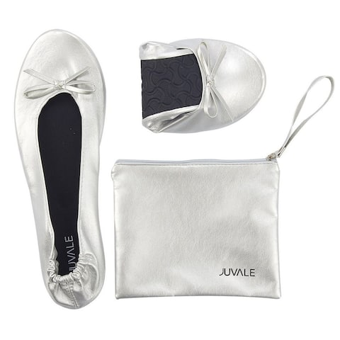 Women's Foldable Ballet Flats Roll up Shoes with Pouch, Silver, US 6.5 - 7.5, M