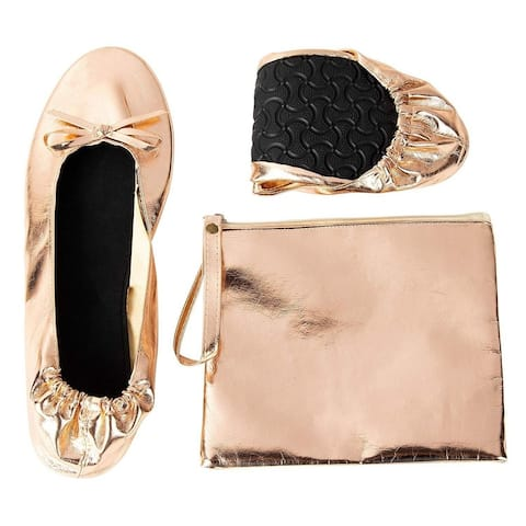 Women's Foldable Ballet Flats Roll up Shoes with Pouch, Rose Gold, M, US 7 - 8