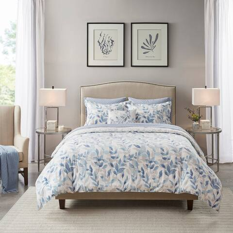 Madison Park Essentials Thelma Blue Reversible Complete Bedding Set
