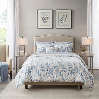 Madison Park Essentials Thelma Blue Reversible Complete Bedding Set