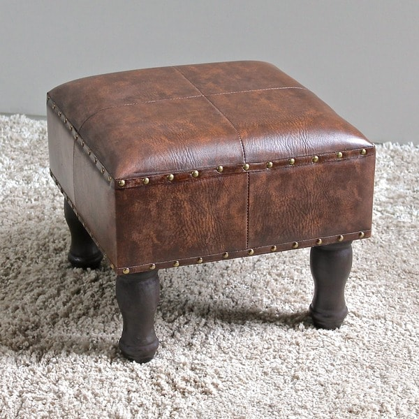 International Caravan Faux Leather 16 Inch Square Stool