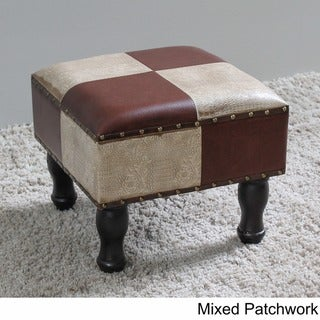 International Caravan Faux Leather 16-inch Square Stool