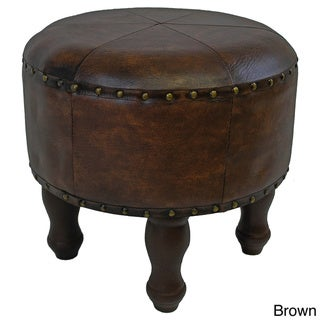 International Caravan Faux Leather Large Round Stool