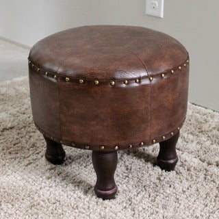 International Caravan Faux Leather Large Round Stool