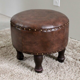 International Caravan Faux Leather Large Round Stool (As Is Item)