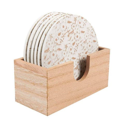 "6 Pack Round Wooden Coasters with Holder, White Floral Design, 3.8"" Diameter"