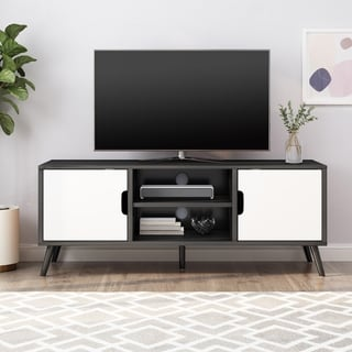"""Link to Peermont Mid-Century Modern TV Stand with 2 Doors and 2 Shelves by Christopher Knight Home - 47.25"""" W x 15.50"""" D x 18.50"""" H Similar Items in TV Stands & Entertainment Centers"""