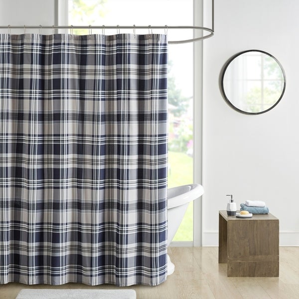 Madison Park Essentials Paton Navy Plaid Printed Shower Curtain. Opens flyout.