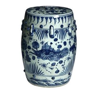 Handmade Fish Motif Chinese Porcelain Garden Stool (China)