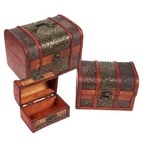 3 Piece Wooden Treasure Box - Keepsake Box - Treasure Chest with Flower Motif