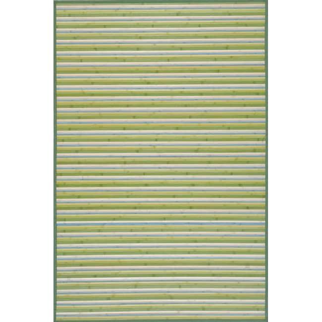 Handmade Lime Green Stripe Rayon from Bamboo Rug (4' x 6')