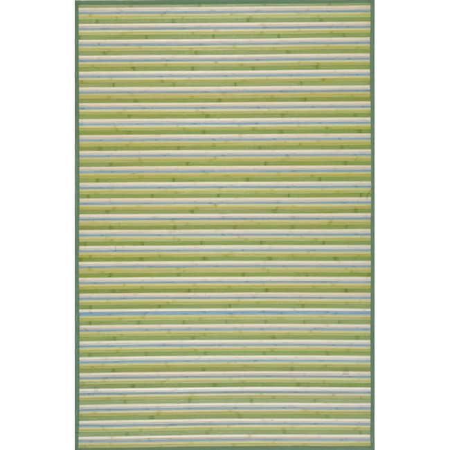 Handmade Lime Green Stripe Rayon from Bamboo Rug (5' x 7')