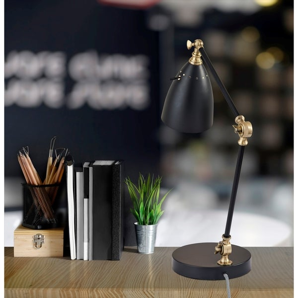 Adesso Boston Black & Antique Brass Desk Lamp. Opens flyout.