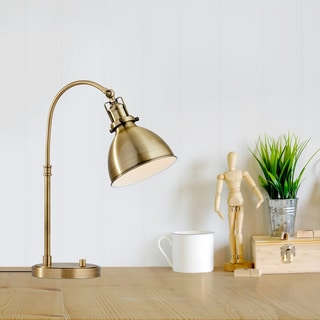 Link to Carson Carrington Pardixgard Antique Brass Desk Lamp Similar Items in Table Lamps