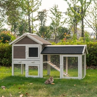 """Link to Kinbor 52"""" Wooden Rabbit Hutch, Pet House for Small Animals with Run, Bunny Cage Guinea Pig House w/ Tray, Indoor & Outdoor Similar Items in Small Animal Cages & Habitats"""
