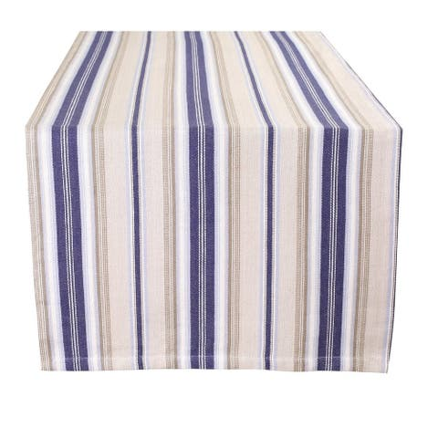 Glamburg 2 Piece Set Classic Vintage Stripe 100% Cotton Table Runners with Mitered Corners