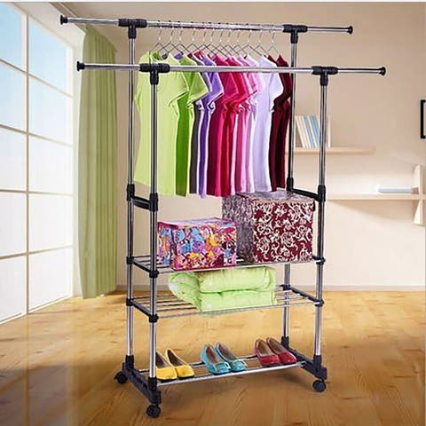 Adjustable Garment Rack with 2 Tier Metal Shelf for Shoes Boxes