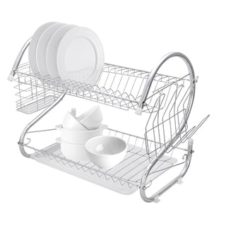 Dish Drying Rack, 2 Tier Dish Rack with Utensil Holder