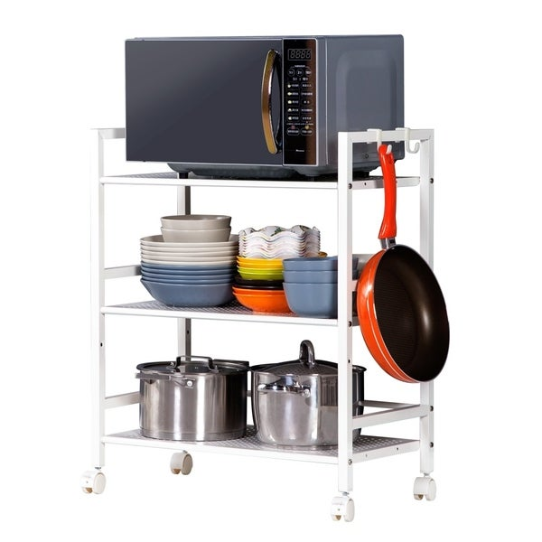 3-Tier Rolling Storage Cart Metal Utility Cart for Bathroom