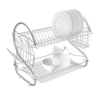 Dish Drying Rack, 2 Tier Dish Rack with Utensil Holder, Silver