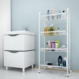 4-Tier Basket Stand Kitchen Bathroom Trolley Rolling Storage Cart