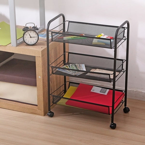 3-Tier Mesh Wire Rolling Cart Multifunction Utility Cart