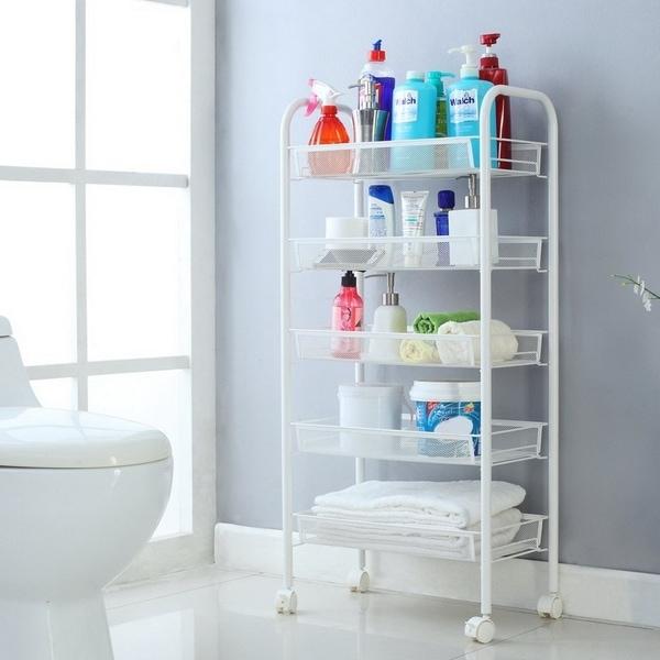 5-Tier Basket Stand Kitchen Bathroom Trolley Rolling Storage Cart