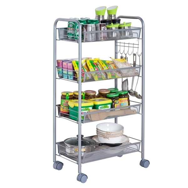 4-Tier Mesh Wire Rolling Cart Multifunction Utility Cart