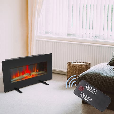 36'' Wall Mounted Electric Fireplace 1400W Adjustable Space Heater