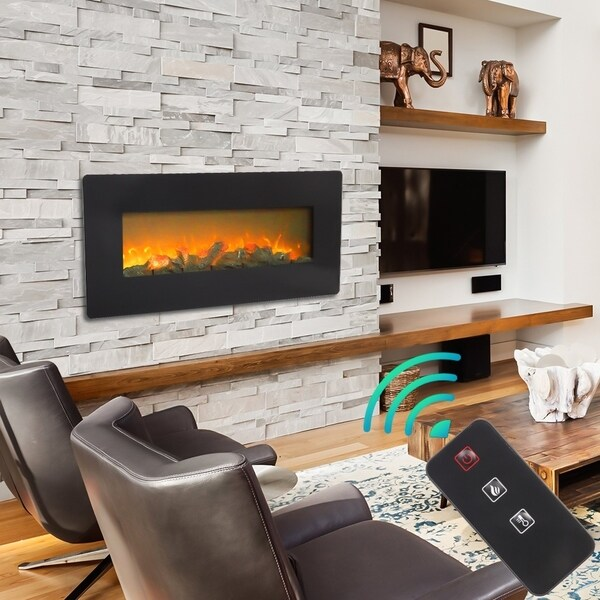 42'' Wall Mounted Electric Fireplace 1400W Adjustable Space Heater
