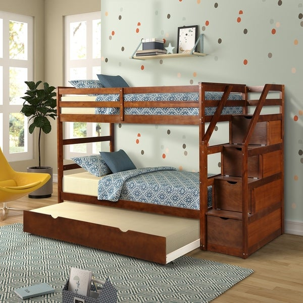 Twin-Over-Twin Trundle Bunk Bed with 4 Storage Drwers