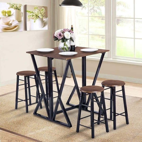 5 Pieces Counter Height Dining Table Set Drop Leaf