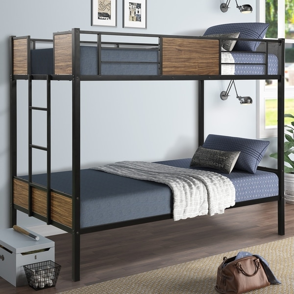 Twin Over Twin Bunk Bed Modern Style Steel Frame with Safety Rail