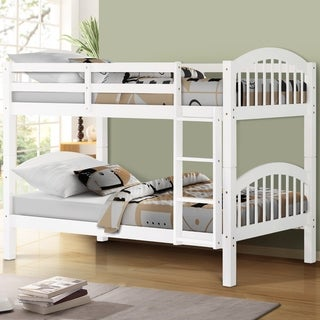 Solid Wood Twin Over Twin Bunk Bed with Ladder