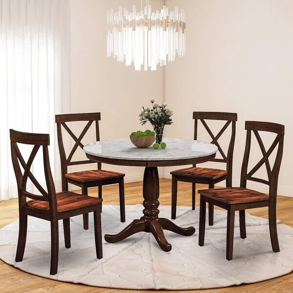 5 Piece Dining Table Set with Faux Marble Top