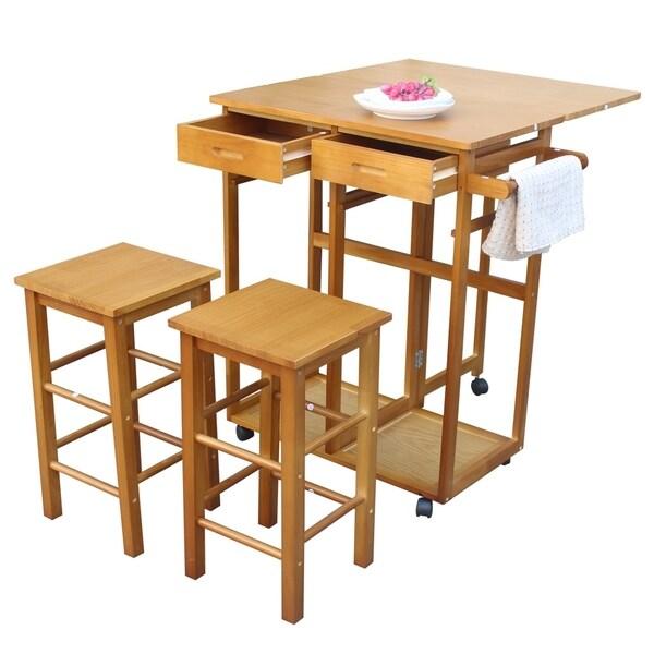 Folding Breakfast Cart Drop Leaf Rolling Kitchen Trolley Cart Island