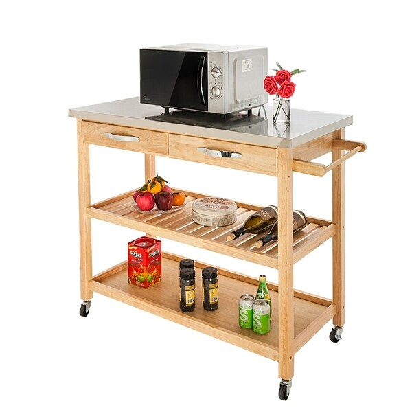 Rolling Kitchen Island Utility Kitchen Serving Cart - N/A