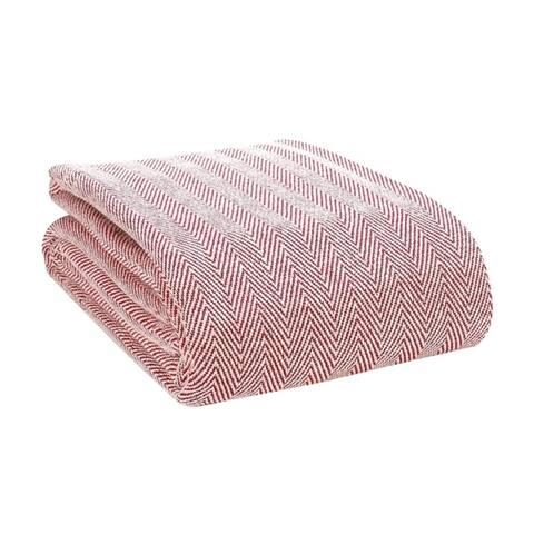 Porch & Den Vetter Thermal Cotton Herringbone Throw Blanket