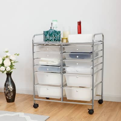 12-Drawers Rolling Storage Cart with Organizer Top