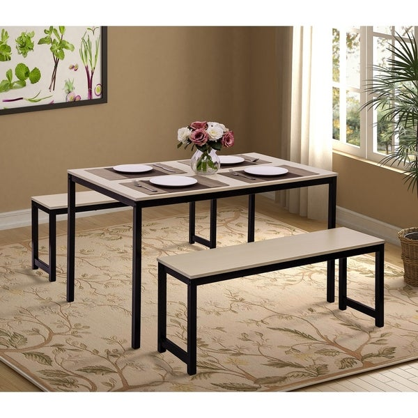 3 Pieces Dining set with Two benches
