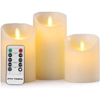 Flameless Candles Battery Operated Pillar Real Wax