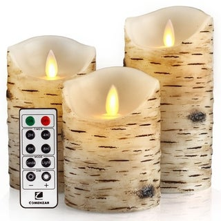 """Flickering Candles, Candles Birch Set of 4 5"""" 6"""""""