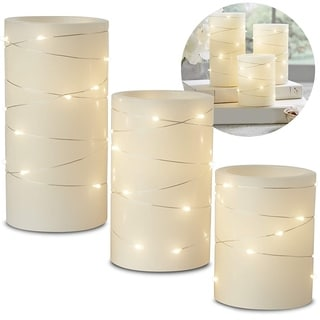 3-Piece LED Candle Set with Daily Timer, Flameless Candles
