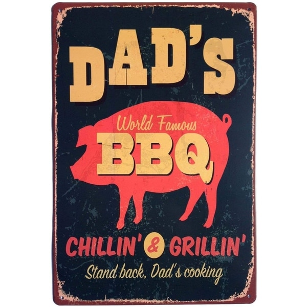 BBQ Stand Back Dad's Cooking Metal Vintage Tin Sign Wall Decor 12 x 8