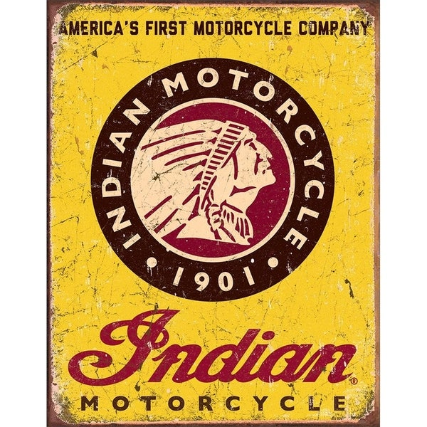 """Indian Motorcycle Since 1901 Tin Sign, 12.5"""" W x 16"""" H"""