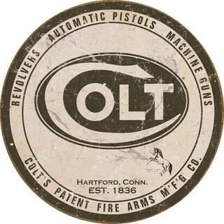 "Colt Revolver - Round Logo Tin Sign, 11.75"" Diameter"