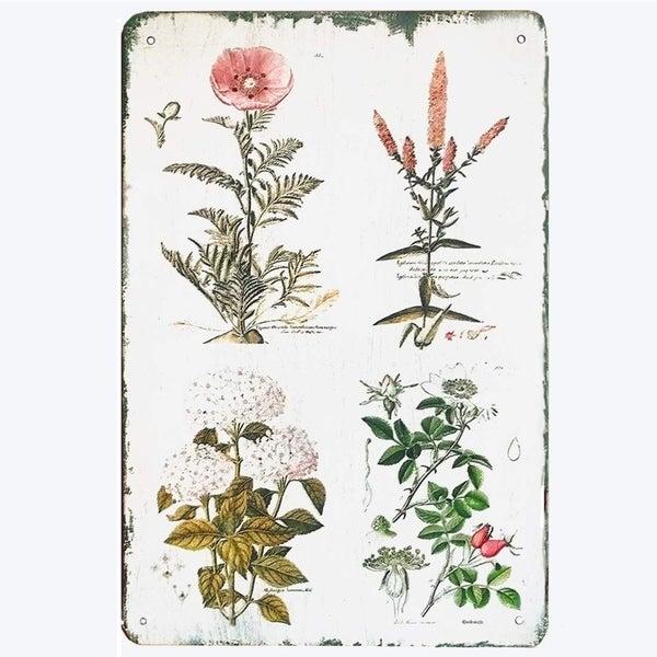 "Vintage Floral Botanical Metal Tin Signs House Signs 8"" X 12"""